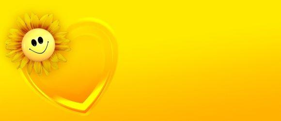 Sluníčko se usmívá ve žluté barvě
